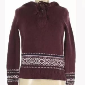 HOLLISTER Holiday Fair Isle Lace Up Hooded Sweater